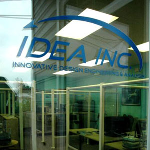 An image through the window of the IDEA office in Mukilteo, WA